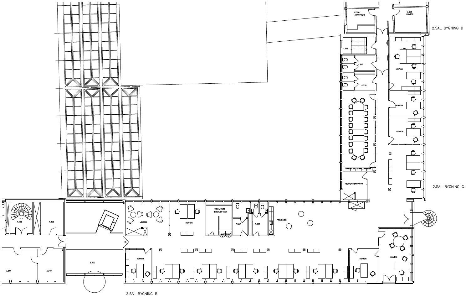 Plantegning - 2. sal - 777 m² kontor
