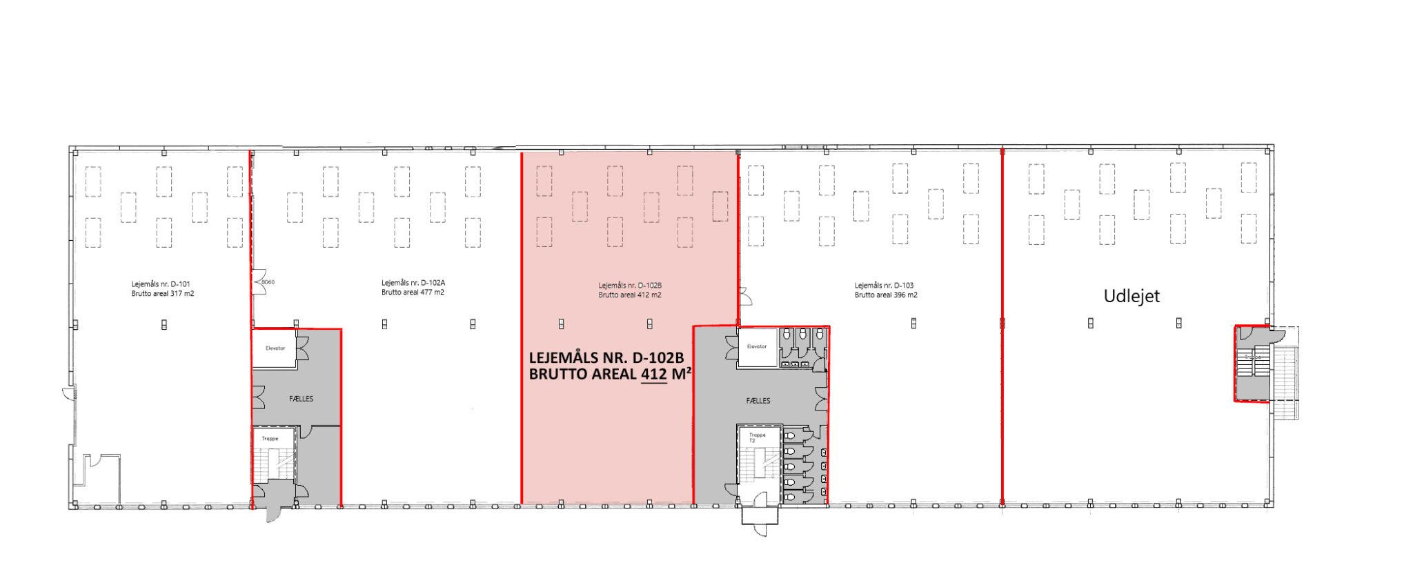 Plantegning stueplan lager 412 m2